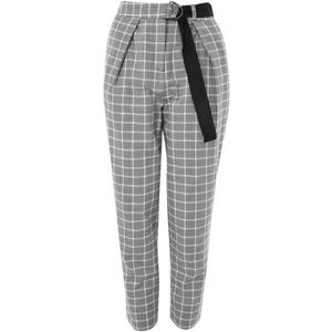 Topshop Petite Plaid Trousers w Belted Waist